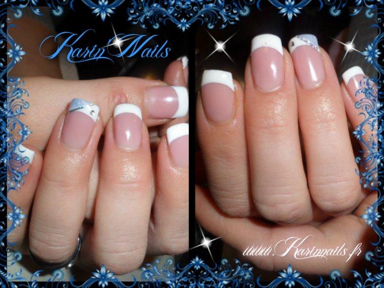 entretien pose en gel sur ongles naturel blanche d 233 co annulaire bleu paillet 233 liseret